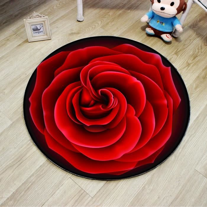 Tapis Rond D Effect Rose Rouge  Achat  Vente Tapis  Cdiscount