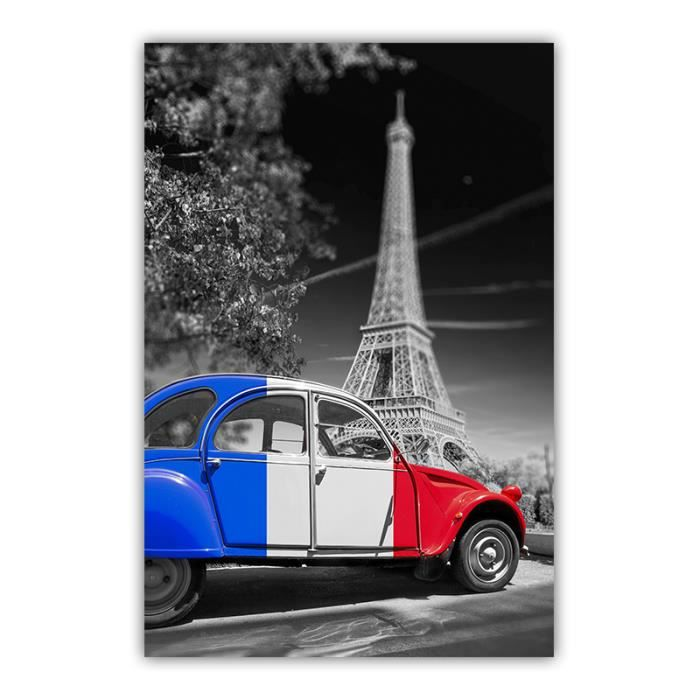 photo paris 2cv bleu blanc rouge et tour eiffel 20x30 cm