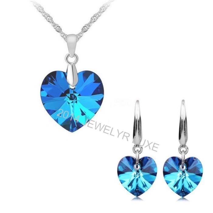 Parure Bijoux Coeur Cristal Swarovski* Bleu Femme