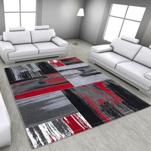 tapis gris noir rouge achat vente tapis gris noir rouge pas cher cdiscount. Black Bedroom Furniture Sets. Home Design Ideas