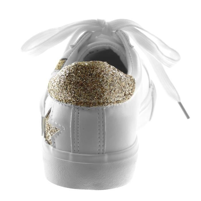 Angkorly - Chaussure Mode Baskets Sporty chic Tennis femme etoile Paillettes Talon plat 2.5 CM - Blanc or - M891 T 35