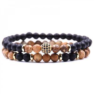 BRACELET - GOURMETTE Bracelets 3 HYHONEY 2 pc-sets pierre Naturelle Bra