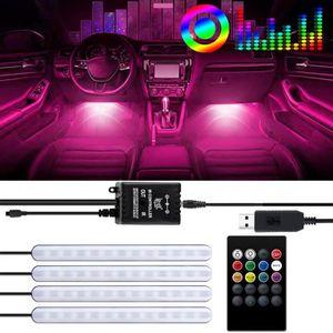 Couleurs Kit d/Éclairage avec T/él/écommande sans Fil Keenso Voiture /Éclairage Int/érieur Bandes 8 x 6 LED Lampe dAmbiance Multi Voiture Atmosph/ère Lumi/ère RGB