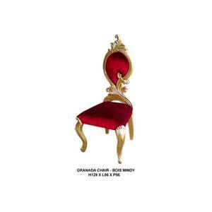 CHAISE Chaise baroque blanche - Colori: Bois doré et velo