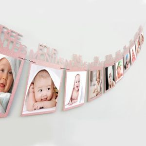 1-12 mois bébé photo Bannière familial mensuel Photo Wall Party Hanging Décoration