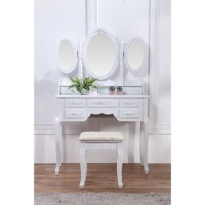 coiffeuse blanche achat vente coiffeuse blanche pas cher soldes cdiscount. Black Bedroom Furniture Sets. Home Design Ideas