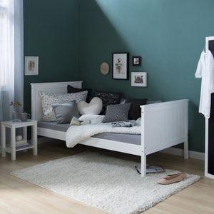 STRUCTURE DE LIT Lit enfant en bois massif simple Blanc, 90 x 200 c