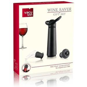 BOUCHON - DOSEUR  VACUVIN Coffret pompe à vin noire - 2 becs verseur