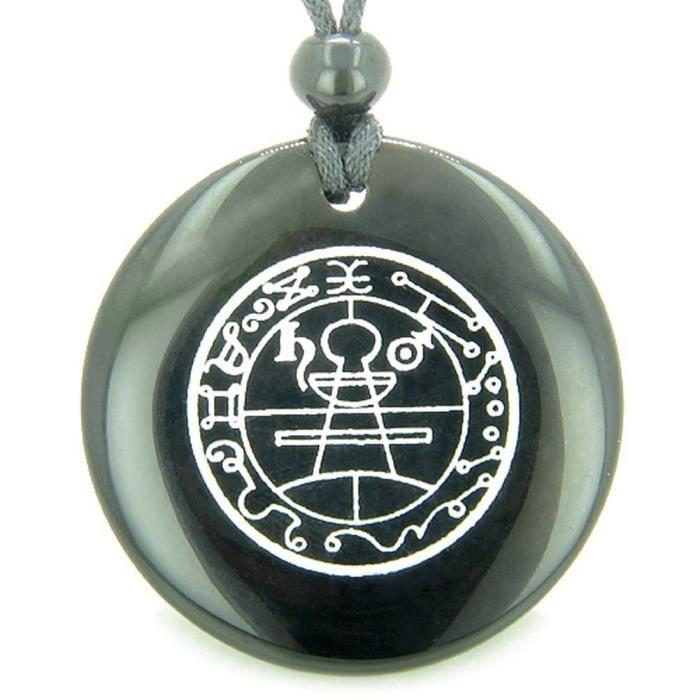 Chaine De Cou Vendue Seule Sceau secret des femmes de protection Salomon Powers Talisman agate noire magique collier pendentif PM9BL