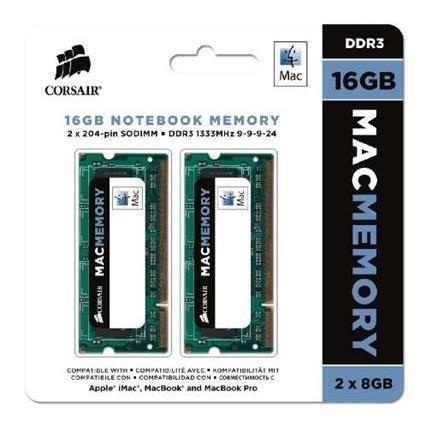 Corsair Cmsa16gx3m2a1333c9 Apple Mac Kit di Memoria da 16 Gb (2x8 Gb) Ddr3 1333 Mhz Sodimm 204 Pin 1.5 V Apple Certified