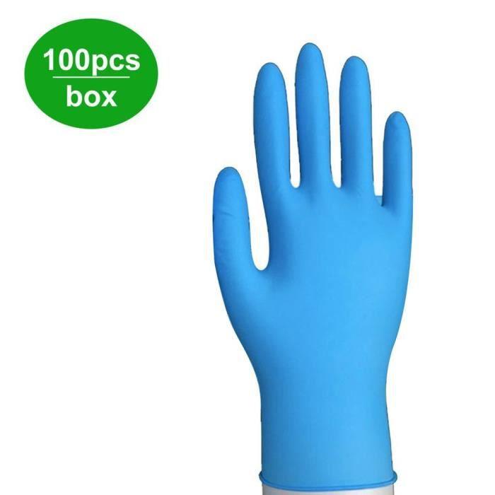 100pcs gants d'examen en nitrile jetables sans poudre solide non latex non vinyle