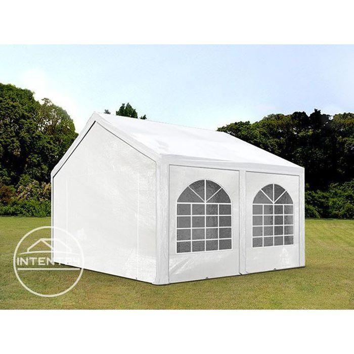 TOOLPORT tente de réception 4x4 m tonnelle barnum PE env. 240g/m² blanc imperméable 4x4m