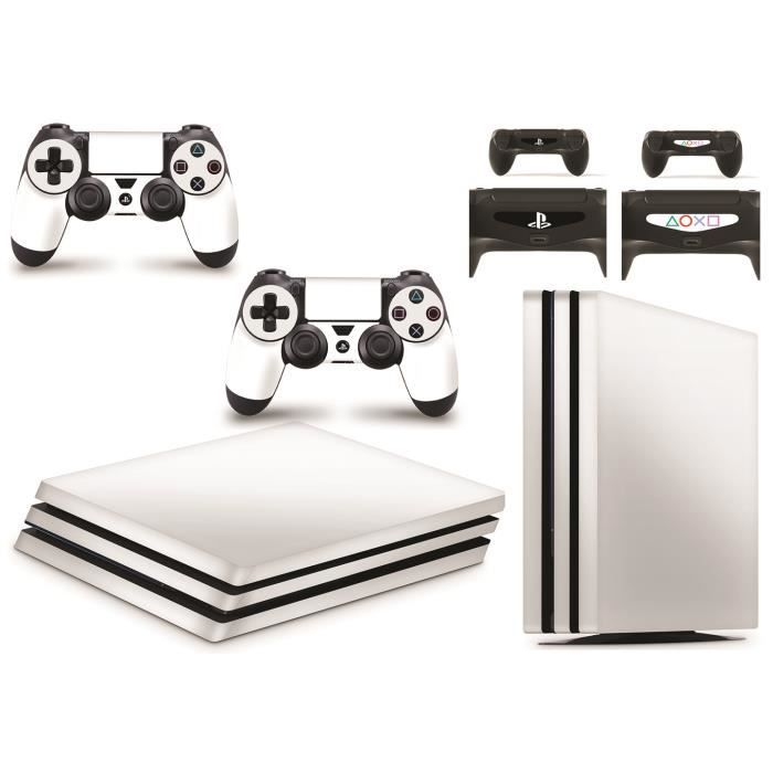 GNG PS4 PRO Console White Colour Skin Decal Vinal Sticker + 2 Controller Skins Set