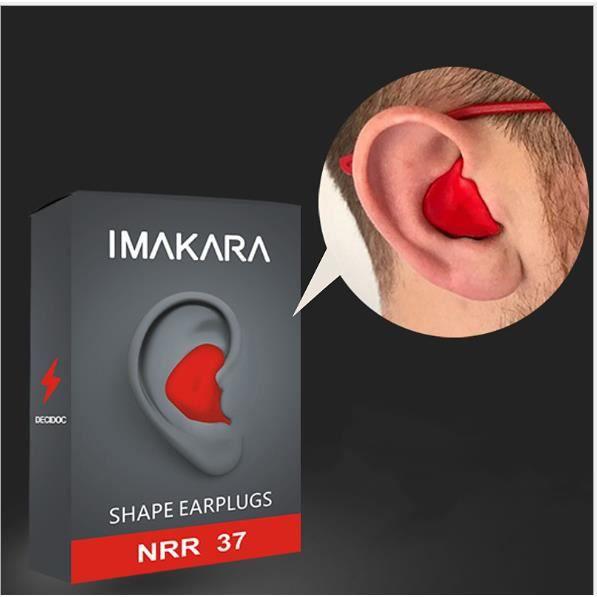 Paire Bouchons d'oreille déformables anti-bruit ronflement bouchons d'oreilles comfortables pour étude dormir-Rouge