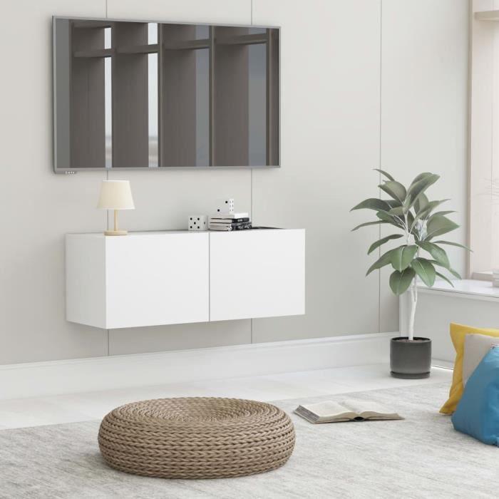 Meuble TV Mural Design Tendance Contemporain - Avec 2 Portes Abattantes - Blanc Aggloméré - 80x30x30 cm
