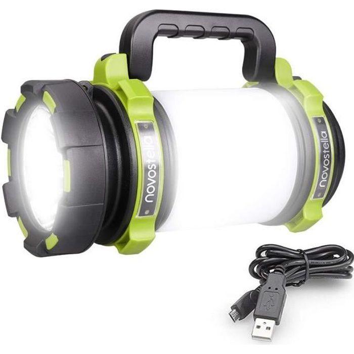 Novostella 1000 Lumens Lanterne LED Rechargeable, Ultra Puissante, 4000mAh Batterie, Lampe de Camping 4 Modes, Câble USB Inclus,