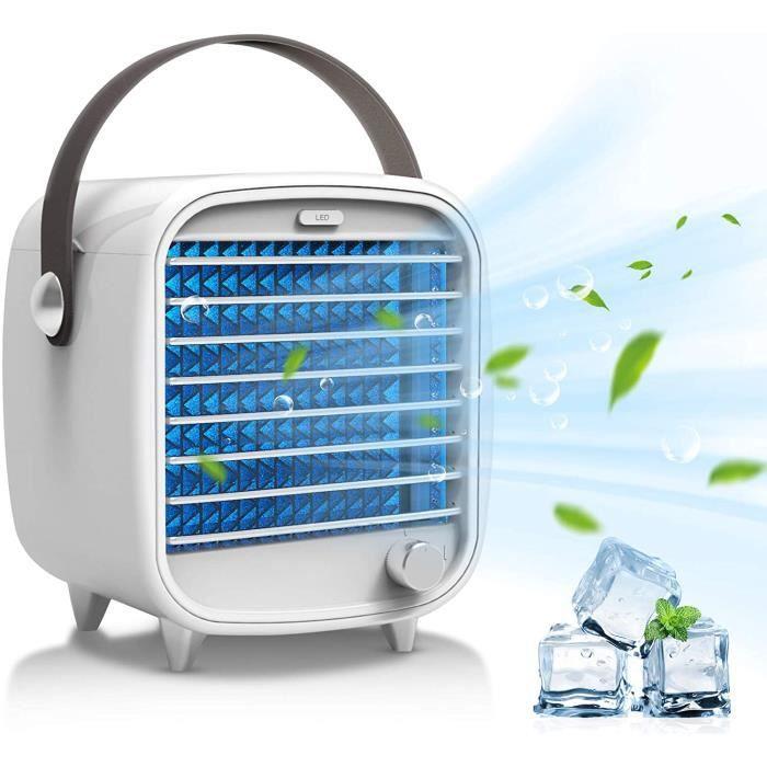 Climatiseur portable avec 2 bacs à glaçons Lumière d'ambiance LED USB Ventilateur pour bureau, maison, chambre à coucher