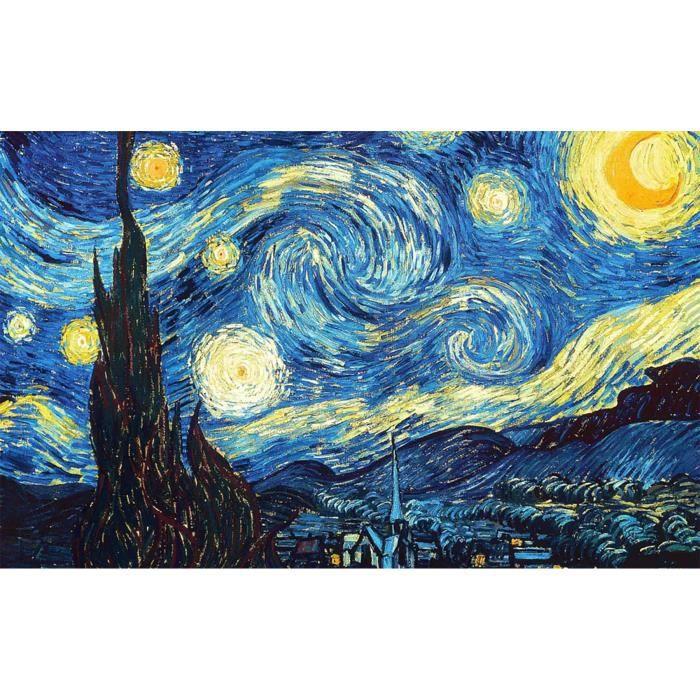 Poster Affiche Van Gogh Nuit Etoilees Peinture Post-Impressionnisme 61cm x 98cm
