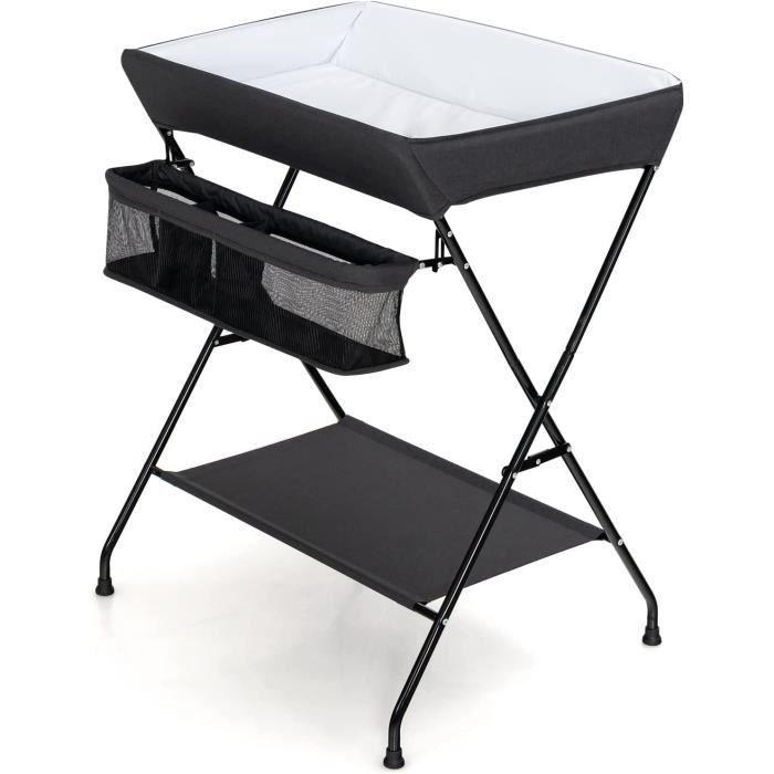 GIANTEX Table à Langer Pliable avec Panier de Rangement et Structure Métallique Stable Charge Max 10KG pour Bébé 0-12mois