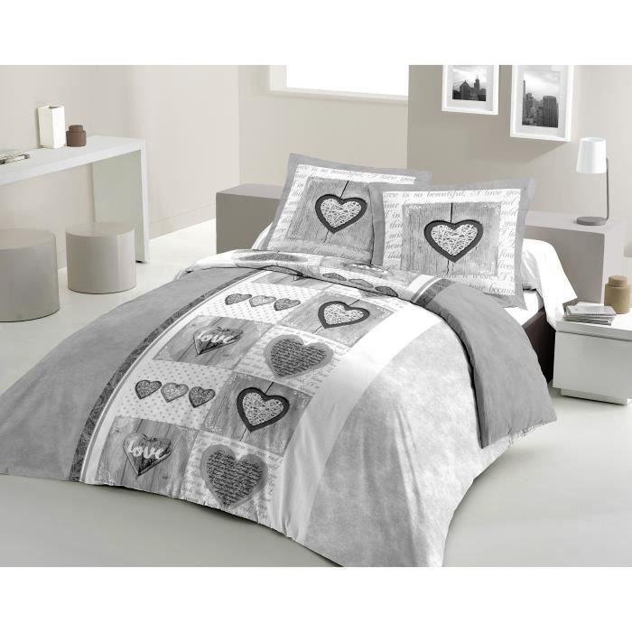 LOVELY HOME Parure de couette Coton SWEET HEART Gris 240x260cm
