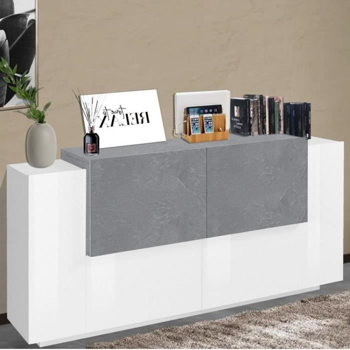 Buffet design Bi-color CORO 160 cm Finition blanc laqué brillant-gris ardoise blanc MDF Inside75