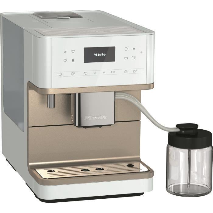 MIELE CM 6360 MilkPerfection BB CleanSteelMetallic Machine à café expresso broyeur automatique - posable - couleur Blanc lotus