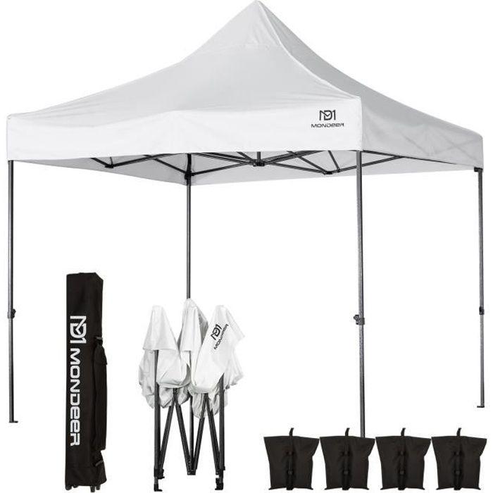Tonnelle de Jardin Tente de Reception 3mx3m Pliante Impermeable pour Fête,Camping, Festival, Blanc - Mondeer
