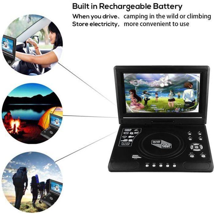 9,8 pouces Portable Lecteur CD/DVD écran LCD à écran plat de 270 degrés Lecteur de télévision Batterie rechargeable intégrée