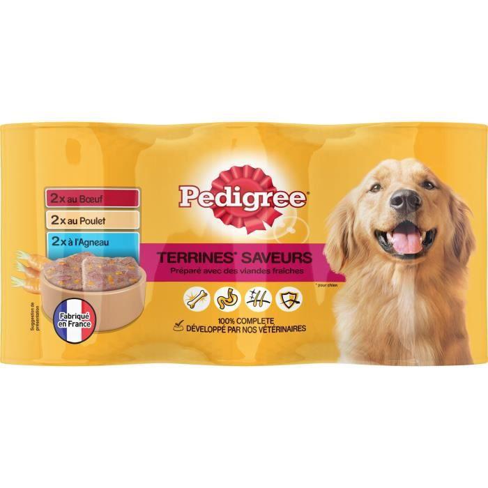 PEDIGREE Boîtes en terrine 3 variétés - Pour chien - 6x 410 g