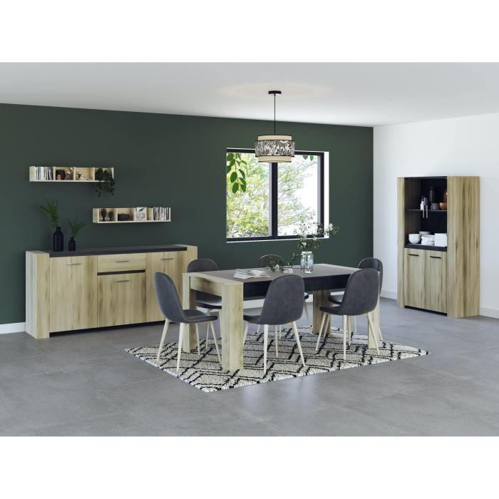 SHEFFIELD Ensemble Enfilade 4 portes + Vitrine 2 portes + Table L 170 cm - Décor chêne kronberg
