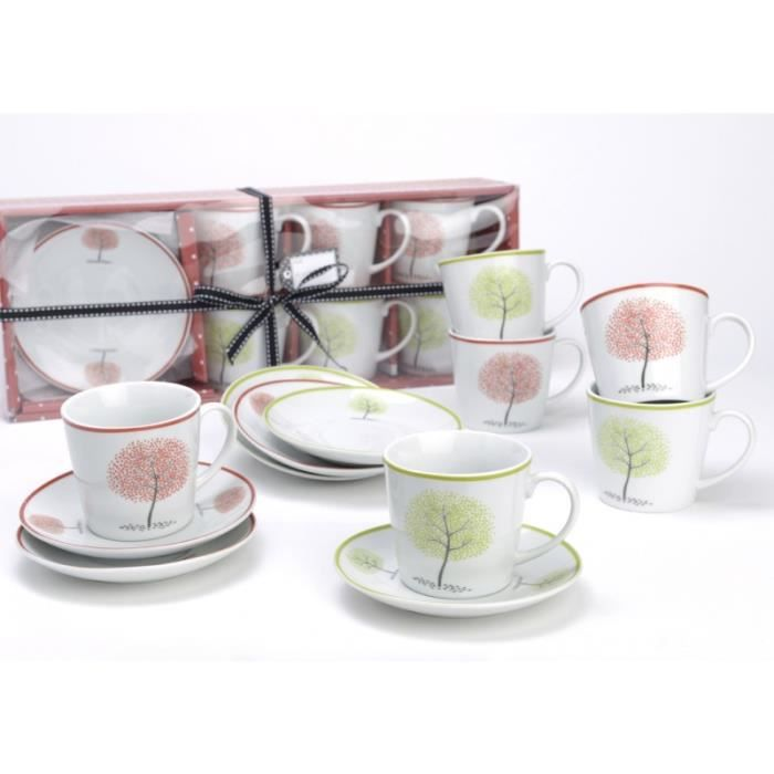 coffret de 6 tasses sous tasses 4 saisons amadeus achat vente service th caf cdiscount. Black Bedroom Furniture Sets. Home Design Ideas