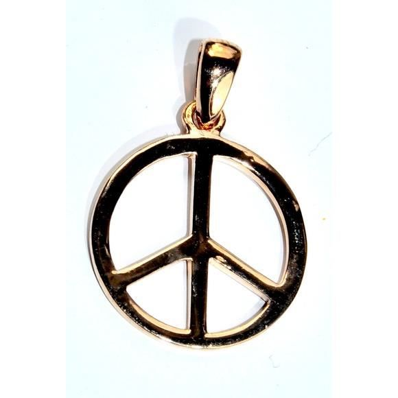 Pendentif plaqu or peace and love achat vente - Boucle d oreille peace and love ...