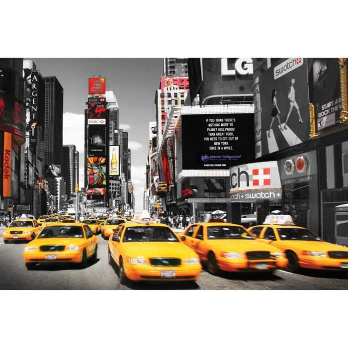 new york taxi jaune time square achat vente affiche. Black Bedroom Furniture Sets. Home Design Ideas