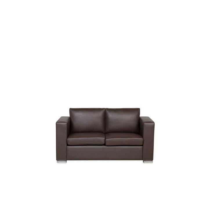 canap 2 places canap en cuir brun sofa helsinki achat vente canap sofa divan. Black Bedroom Furniture Sets. Home Design Ideas