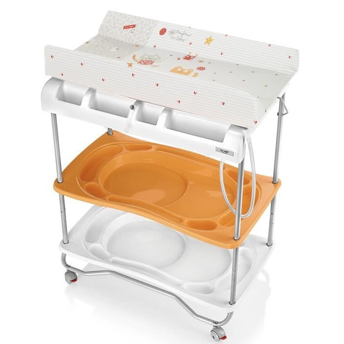 Brevi table langer atlantis orange orange blanc et for Table a langer atlantis