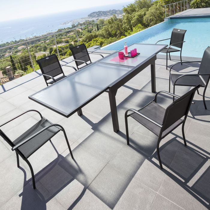 ensemble repas extensible chaweng noir achat vente table de jardin ensemble repas extensible. Black Bedroom Furniture Sets. Home Design Ideas