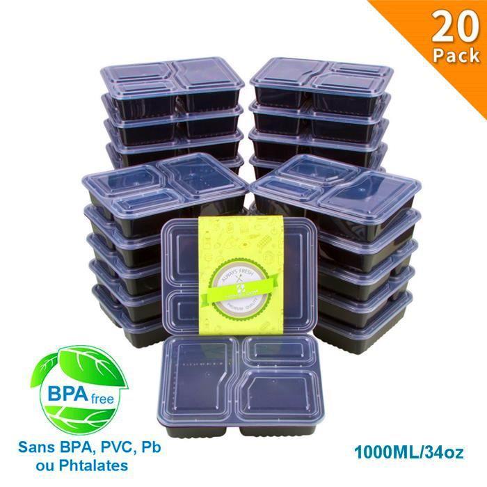LUNCH BOX - BENTO  20pcs 1000ML Boîtes Repas à 3 Compartiments Lunch