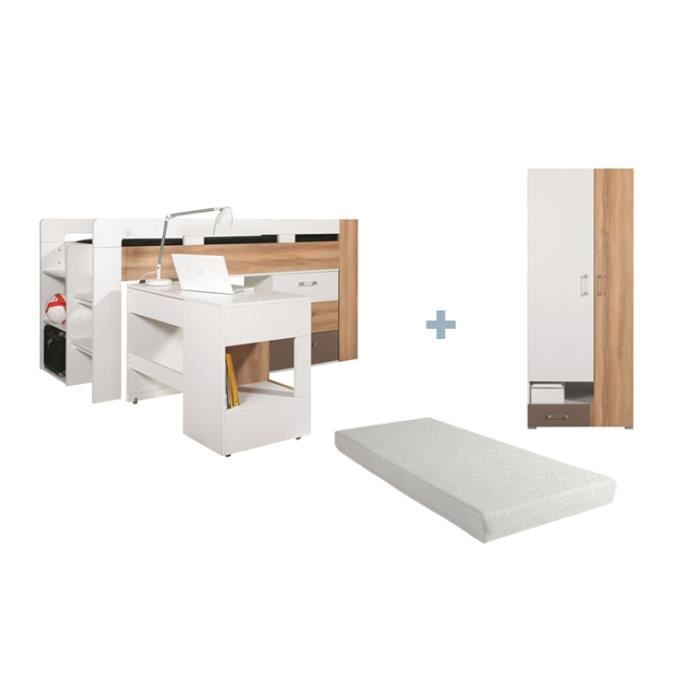 lit enfant combine avec matelas bureau et commode puzzle. Black Bedroom Furniture Sets. Home Design Ideas