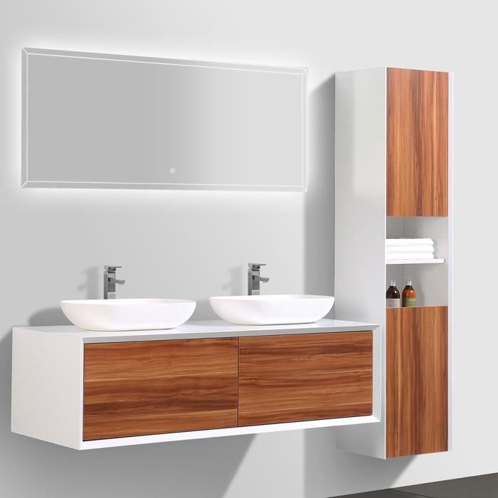 Meuble de salle de bain double vasque avec colonne de rangement – Bois foncé