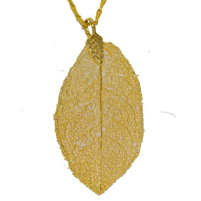 collier or feuille