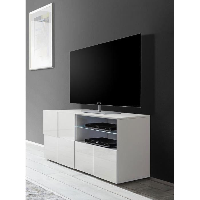 Matelpro Meuble Tv Design 120 Cm Laque Blanc Brillant Milenor L 121 X H 57 X P 42 Cm Blanc Achat Vente Meuble Tv Matelpro Meuble Tv Design Cdiscount