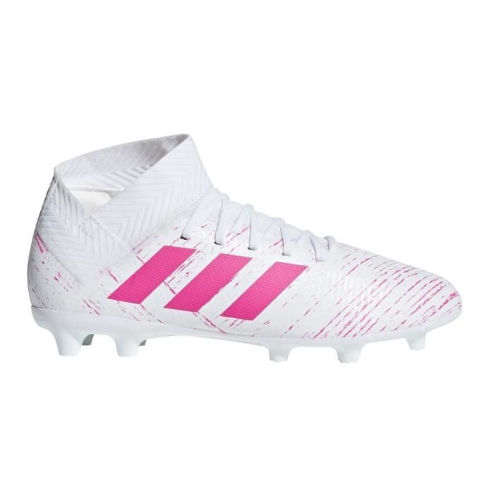 on feet images of authorized site clearance sale Chaussures Football Adidas Nemeziz 18.3 Fg Blanc-Rose Junior ...