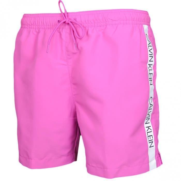 Short de bain Calvin Klein rose bande logo
