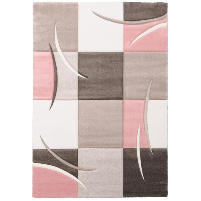Ella tapis de salon 120x170cm pastel rose achat for Salon gris rose pale