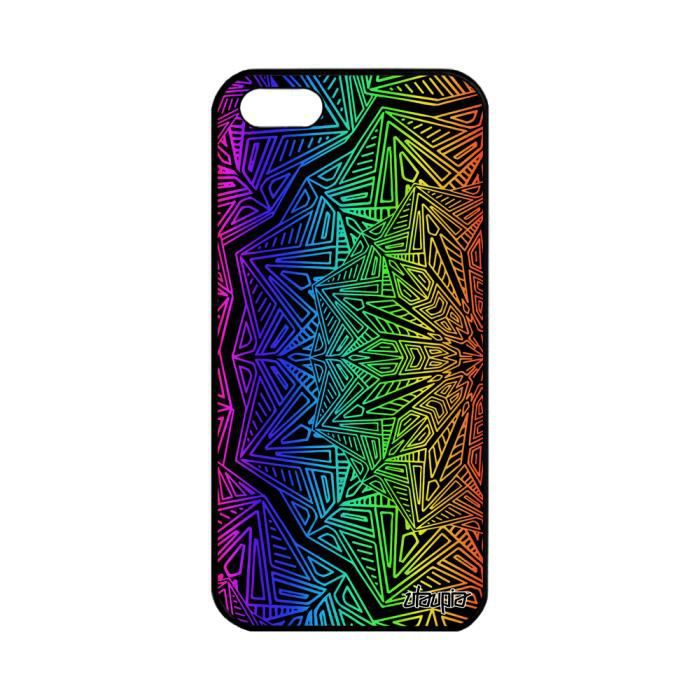 Coque iPhone 5 5S SE silicone Mandala noir rigide
