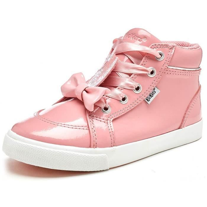 Kickers Tovni Bow Lace Hi Infant Cuir Bottes en Rose Patent 114919 [Enfant UK 8.5EU 26]
