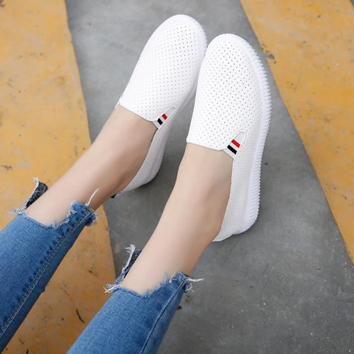 Ronde 1254 forme Femmes Talon Mesdames Toe Plate gei Vider Plat Blanc Casual Chaussures Slip wOSA1t