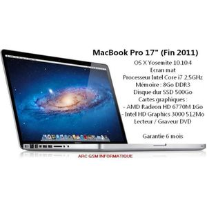"PC Portable MacBook Pro 17"" Core i7 pas cher"
