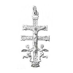 Croix pendentif Loi sur 17mm dargent 925m Caravaca Vierge derri/ère AC0049