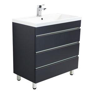 SALLE DE BAIN COMPLETE Meuble salle de bain Via 80 anthracite à poser ave